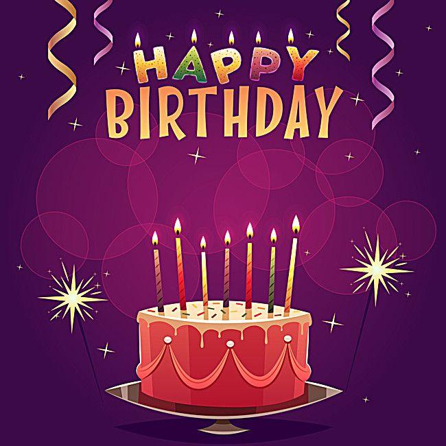 بطاقة تصميم نارية الديكور الخلفية Happy 2nd Birthday Birthday Card Background Purple Birthday Card