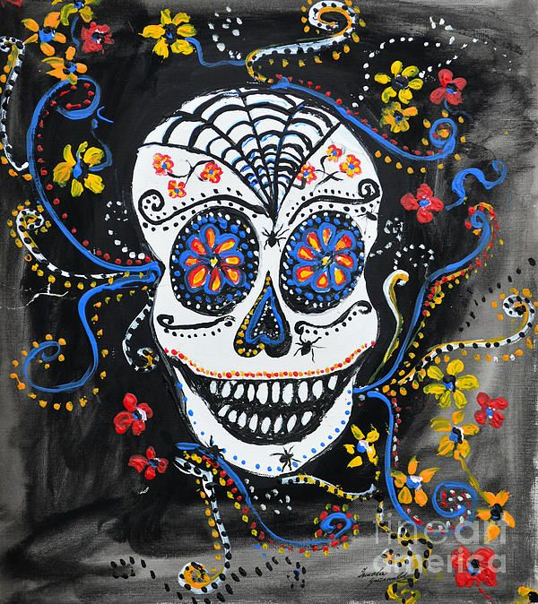 Skull Flowers  - Acrylic on Paper by Ismeta Gruenwald