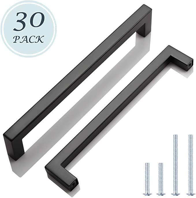 30 Pack Black Stainless Steel Cabinet Pulls Kitchen Cabinet Handles Matte Black 7 9 16 Hole Spacing Cupboard Handles Kitchen Cabinet Handles Cabinet Handles