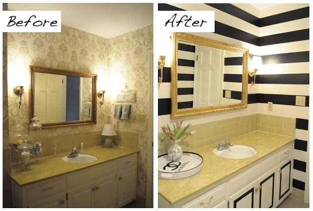 The striped walls have made the bold difference here -- the tile colors stand out once again.