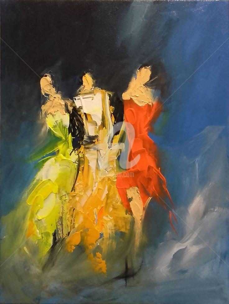 Friends Peinture 30x40x2 Cm Par Ana Mutavdzic Oil Painting Canvas One Of