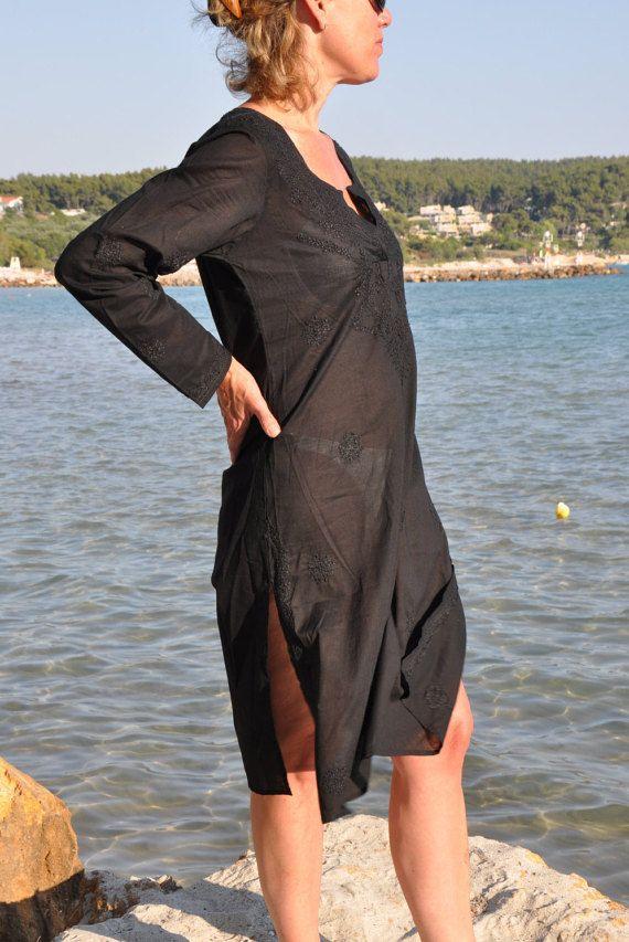 Zwart strand cover-up strand Kaftan / Caftan met door Beachcover