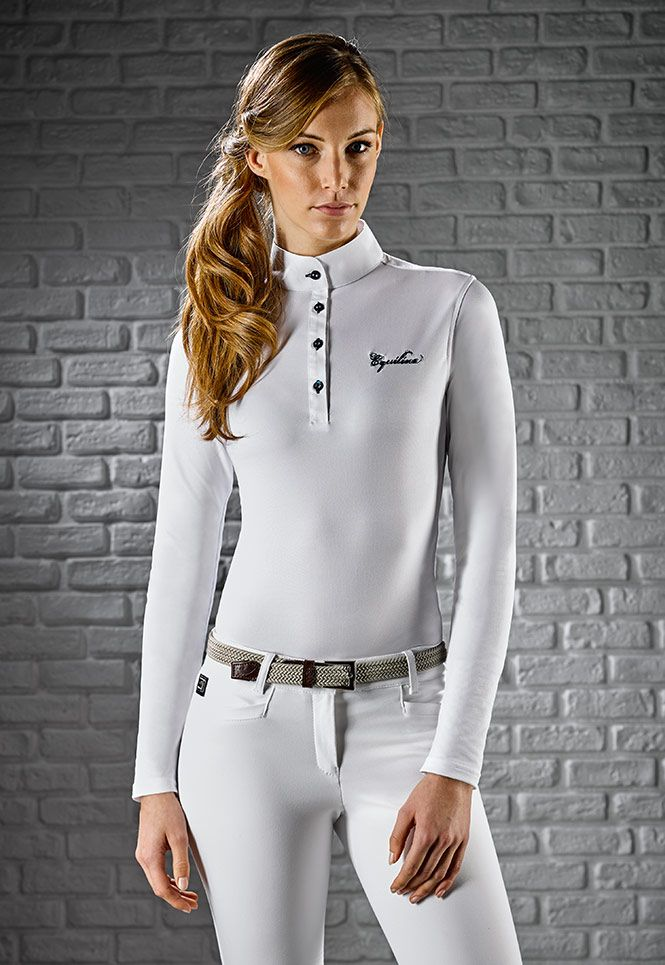 Woman's polo Equiline Long-sleeved shirt in technical x-premium fabric h00584 gracielle.