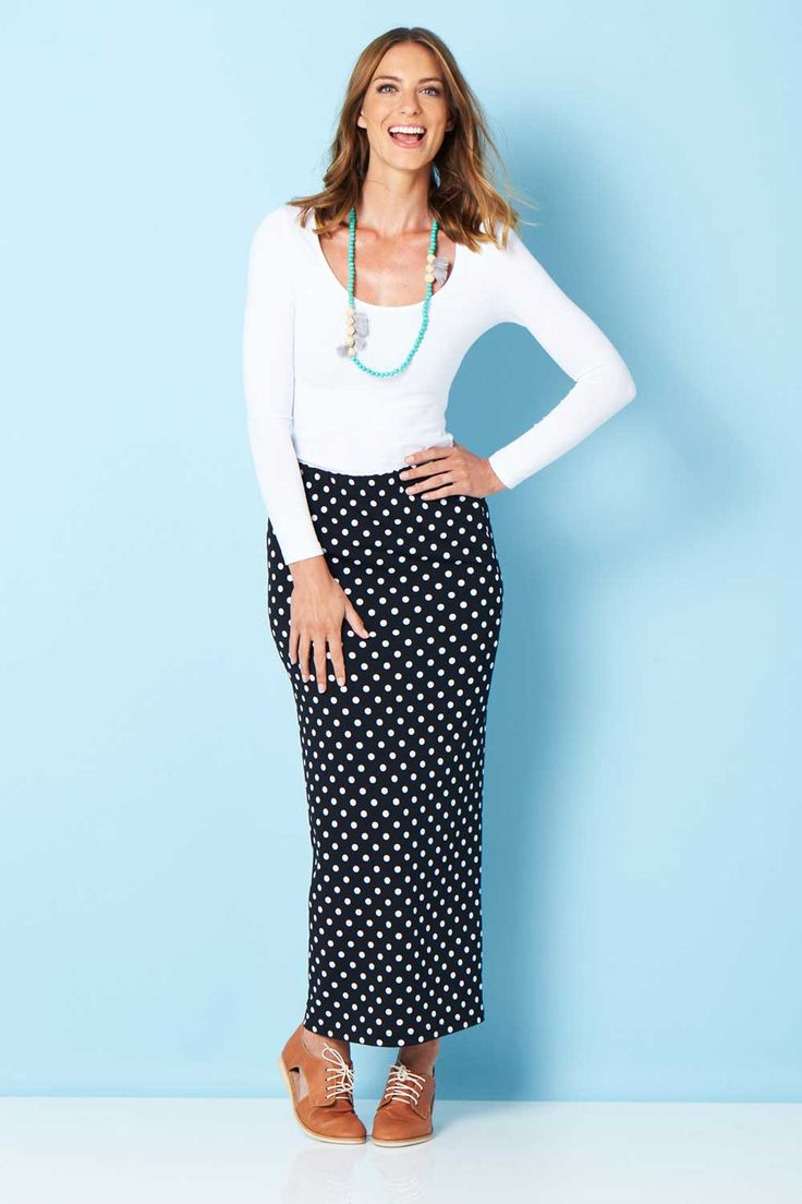 HANDPICKED BY BIRDS - Polka Dot Jersey Maxi Skirt