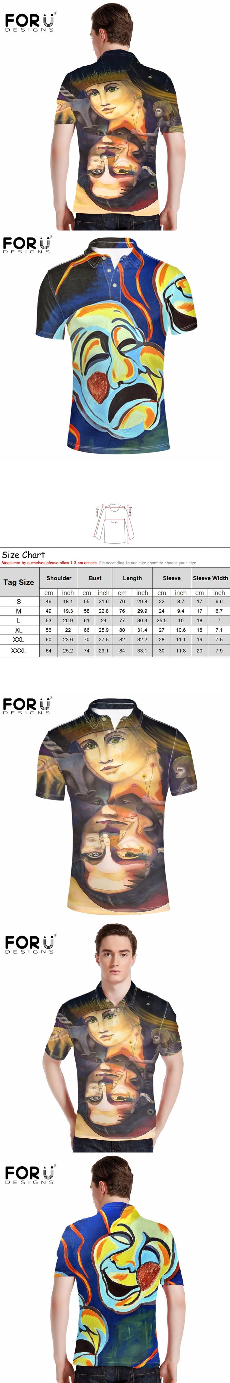 FORUDESIGNS New Summer Men Polo Shirt Funny 3D Character Arts Designs Male Polos Shirt Plus Size Short Sleeve Breathable Top Tee