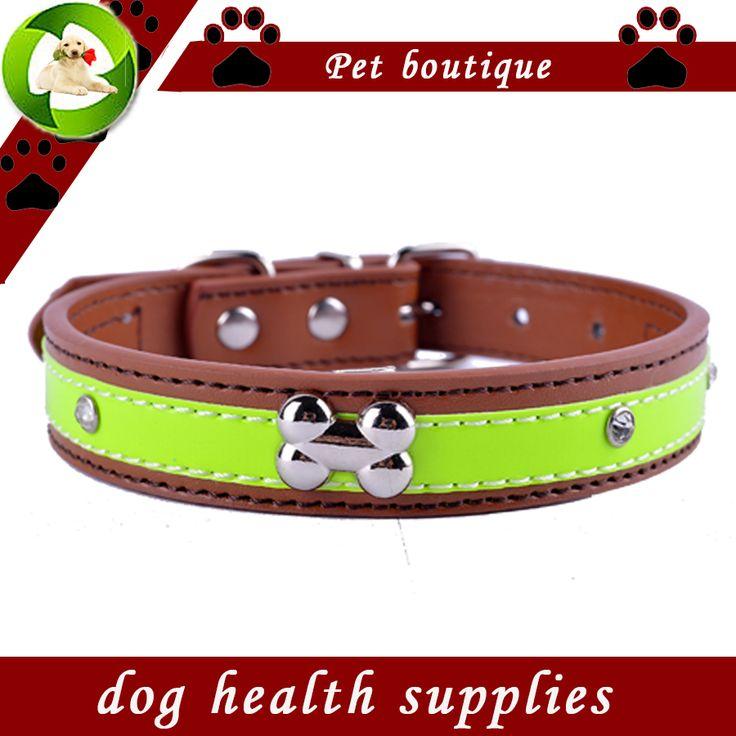 Gepersonaliseerde Crystal Studded Reflecterende Halsband Pu Lederen Halsbanden Voor Honden Ketting Huisdier Producten Voor Dieren
