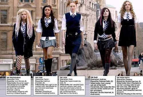 Photo of Stereotypes for fans of St. Trinian's. Profiles of the five main stereotypes: Trustafarian, Celia (Juno Temple), Chav, Taylor (Kathryn Drysdale), Geek, Polly (Lily Cole), Emo, Andrea (Paloma Faith), and Posh Totty, Chelsea, Tamsin Egerton.