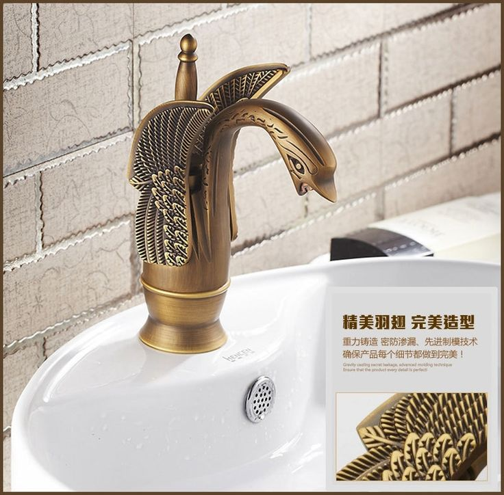 (61.28$)  Know more - http://aihb2.worlditems.win/all/product.php?id=32734333532 - Free shipping Swan antique bathroom basin sink faucet with solid brass hot cold bathroom basin sink faucets