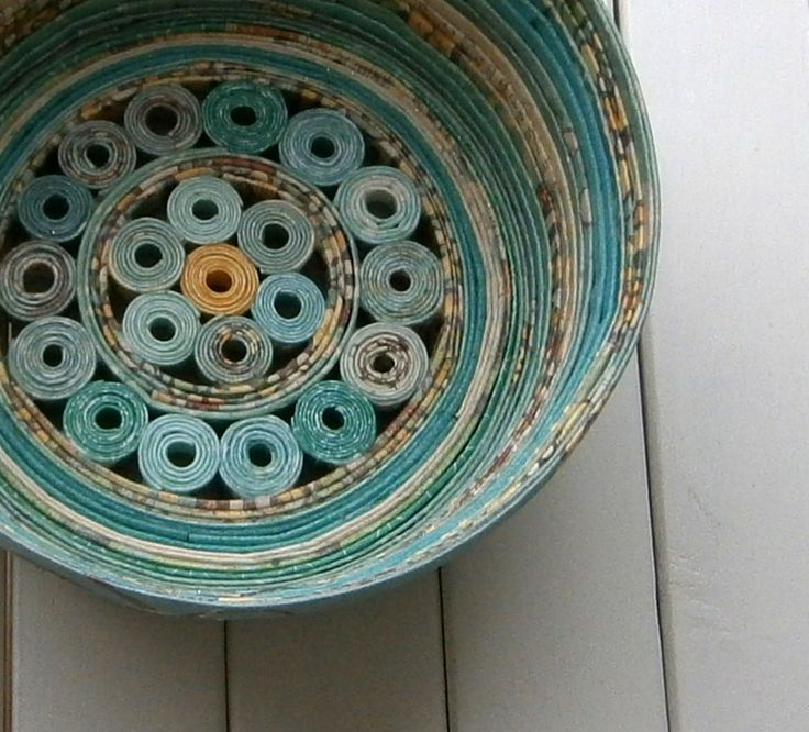 Recycled Coiled Paper Basket Bowl, Handmade - Shades of Aqua and Teal, 5 inch Diameter by BlueTangDesigns on Etsy https://www.etsy.com/listing/99939947/recycled-coiled-paper-basket-bowl