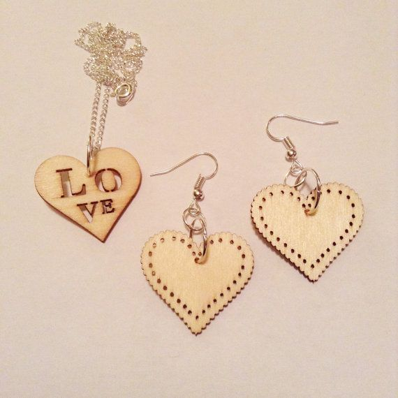 Love Heart jewelry set, wood, silver chain, christmas gift