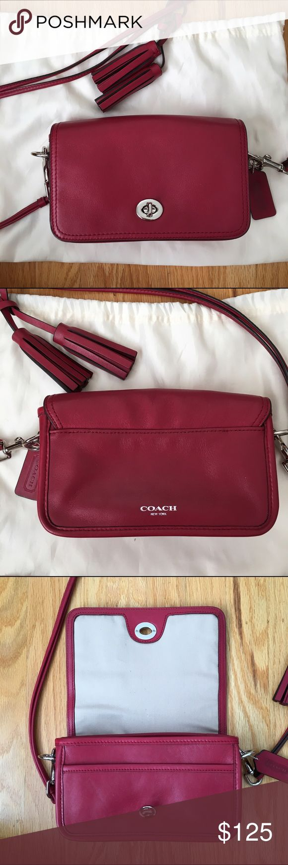 Coach Legacy Leather Penny Purse - Burgundy Coach leather Penny purse. Removable strap. Gently used! No tag or dustbag, but comes with original tassles and hangtag. Coach Bags Crossbody Bags