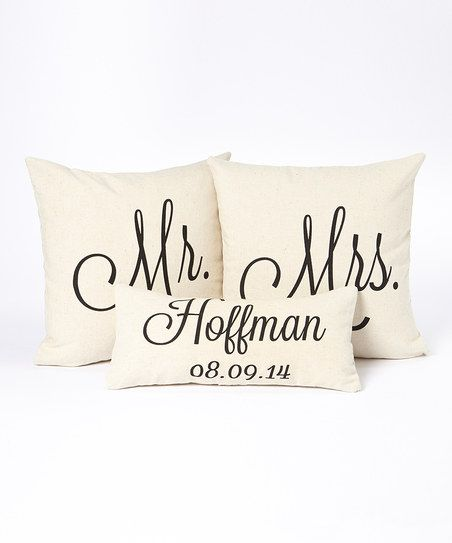 Black Type Personalized Name  Date Pillow Cover Set