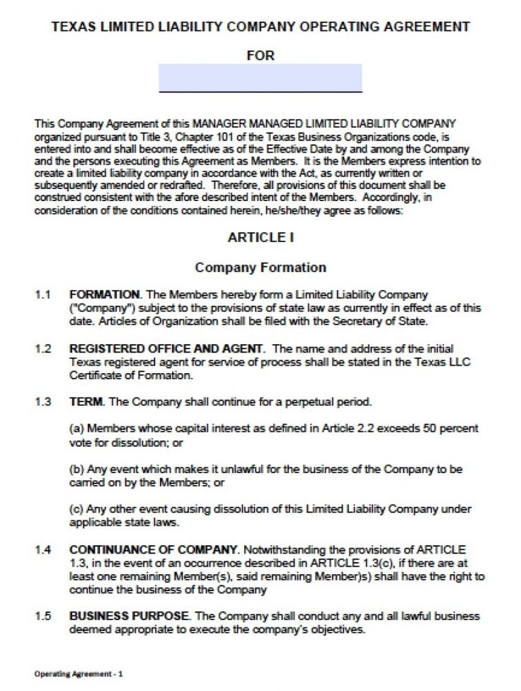 Download Texas LLC Operating Agreement Template llc