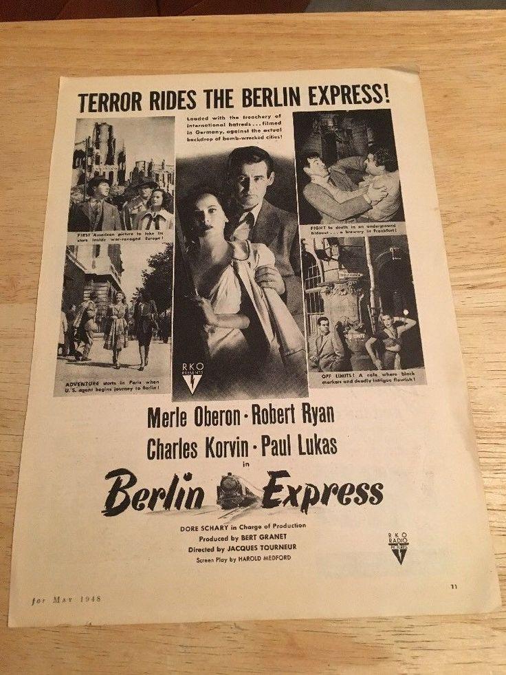 """Vintage 1948  """"BERLIN EXPRESS """" Movie Ad -  Merle Oberon, Robert Ryan"""