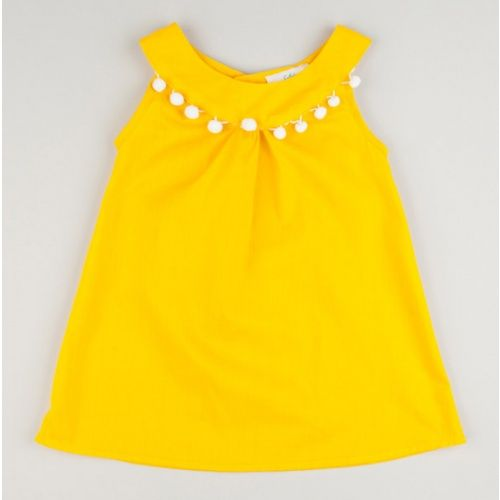 Yellow Pompom Circle Neck Dress for toddler or little girl.