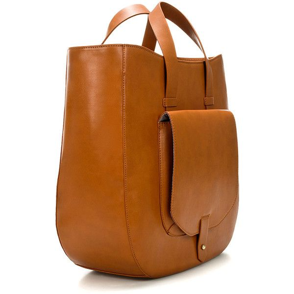 Zara Tote Bag With Pocket (185 SAR) ❤ liked on Polyvore featuring bags, handbags, tote bags, purses, tote handbags, tote purse, man tote bag, man bag and brown tote purse