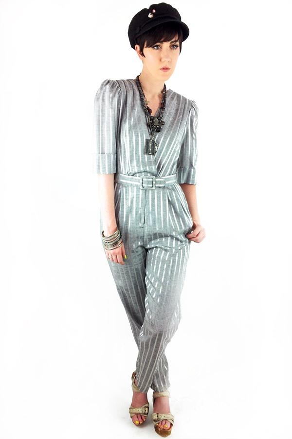 80s STRIPED Metallic Puff Sleeve Skinny Leg High Waist Jumpsuit 80s Secretary Jumpsuit [] - $45.00 : Fox Cartel!, Alternative Vintage Fashion