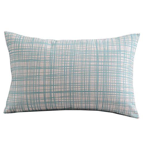 "Create For-Life Cotton Linen Decorative Pillowcase Throw Pillow Cushion Cover Light Blue Gingham Rectangle 12"" * 20"""