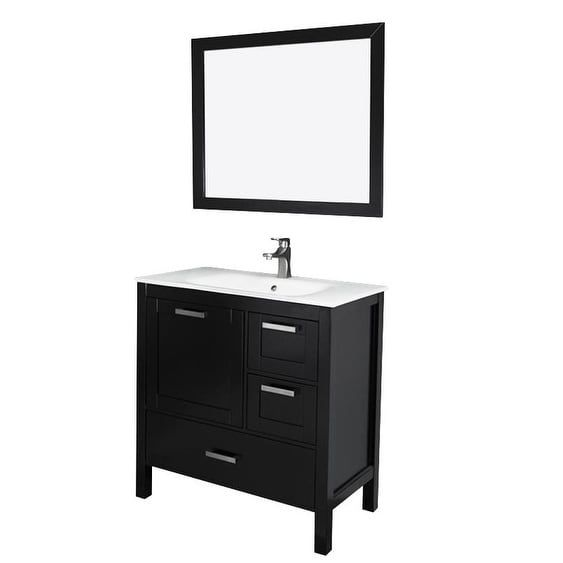 Siena 36 Vanity w/ Solid Doors & Glass Sink (Espresso), Brown, Size Single Vanities