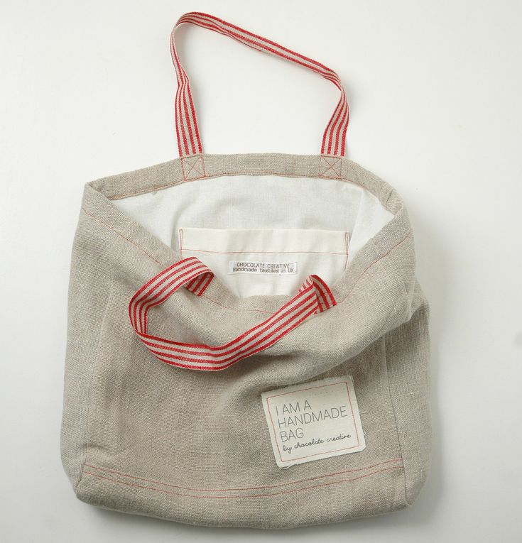 Natural linen tote bag with red straps by chocolatecreative - $58.44