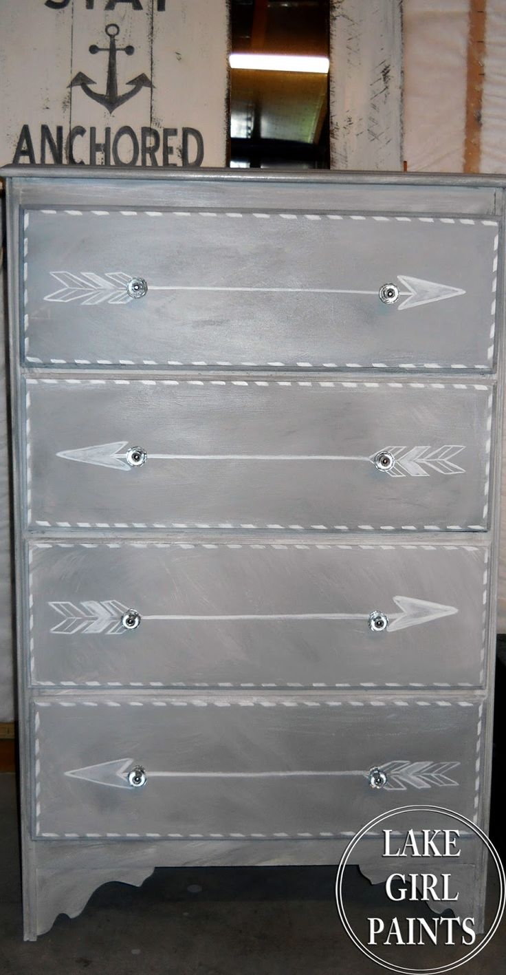 Faux painting furniture ideas - Lake Girl Paints Gray And White Arrow Dresser Dresser Ideascabinet Ideasarrow Designpainting