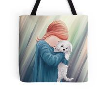 Cute Girl with Dog Tote Bag