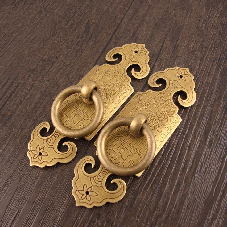A pair (2 pcs) of  99mmx30mm Decorative Cabinet door and window brass handle,Chinese cabinet handle,Double door handle,furniture brass pulls by DiySupplyers on Etsy