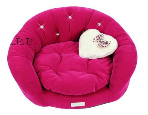 Hot Pink Velvet Round Couch Bed
