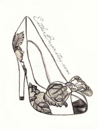 high heel shoe fashion illustration original black white valentino drawing custom print 1500