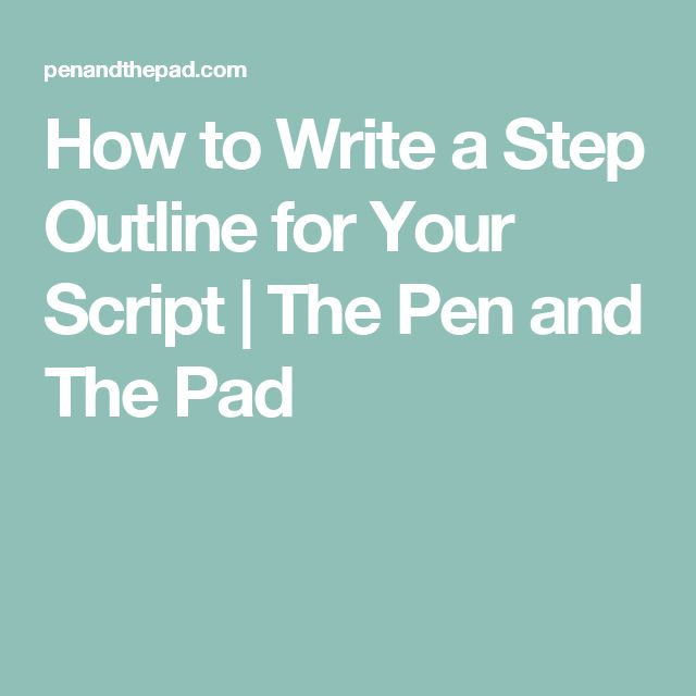 how to write a step outline