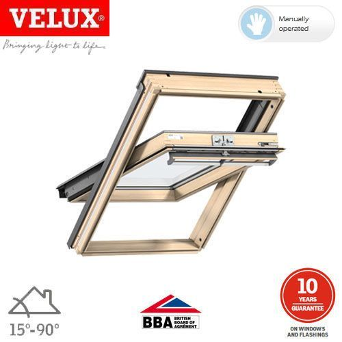 VELUX GGL SK06 3050 Pine Centre Pivot Window Toughened - 114cm x 118cm