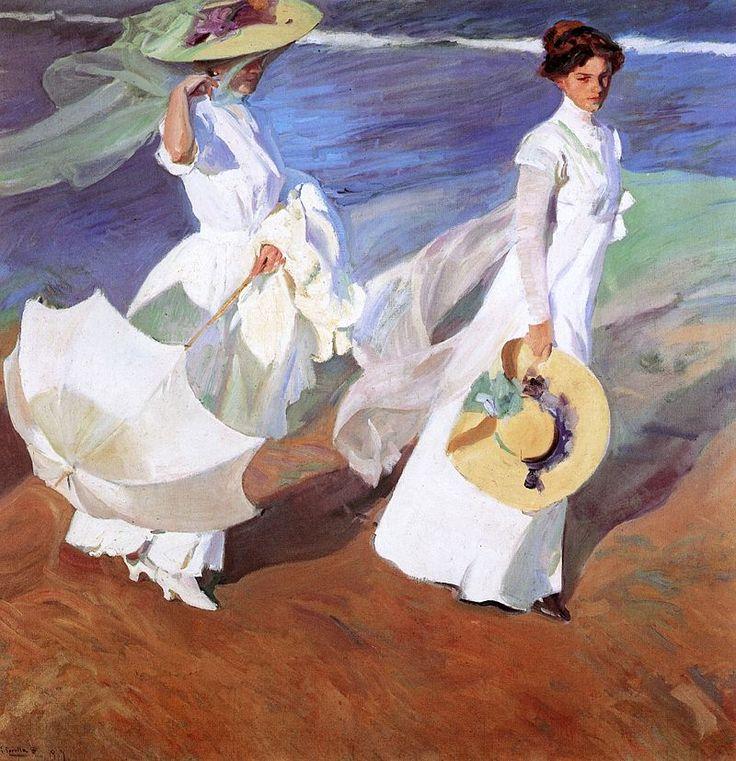 Paseo a orillas del mar, es un cuadro donde aparecen dos mujeres Clotilde García ( su mujer) con una sombrilla y  su hija mayor, María Clotilde, caminando por la playa de Valencia. Esta obra hace parte del postimpresionismo español, debido  a la luz, el color y el movimiento que transmite la obra.