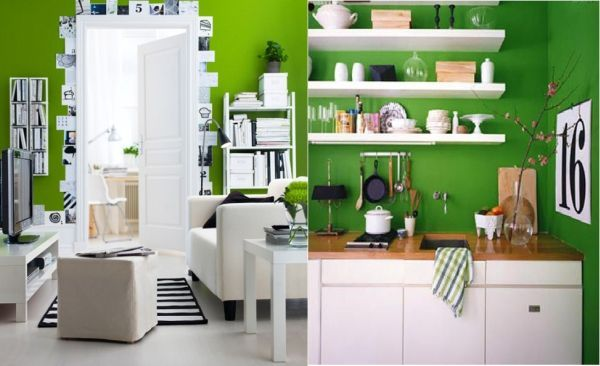 green-black-white: Black Green, Kitchens Colors, Black And White, Green Wall, Kitchens Ideas, Google Search, Green Kitchens, Black White Interiors, Green Colors