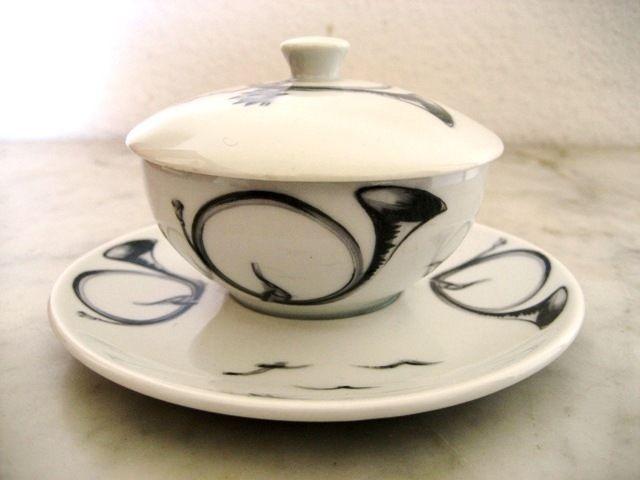 Moutardier porcelaine Haviland Limoges ,cor de chasse
