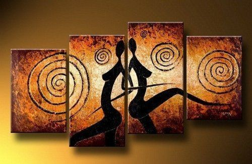 4 Piece Canvas Art Modern Art African Painting Figure Art 100% Hand Painted Oil Painting on Canvas Wall Art Deco Home Decoration (Unstretch No Frame) by galleryworldwide, http://www.amazon.com/dp/B009ZAZ8TE/ref=cm_sw_r_pi_dp_dXcUrb1TK5H0V