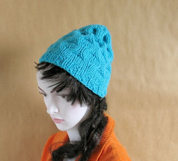 Women Hat  Ice Blue Slouchy Hat-Women Beanie by recyclingroom