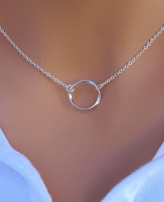 THANKS SALE Eternity Circle Necklace in STERLING by RoyalGoldGifts