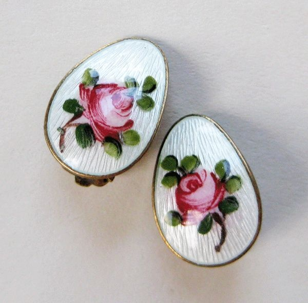 Vintage Sterling Enamel Norway Ivar Holt Rose Earrings from quick-red-fox on Ruby Lane