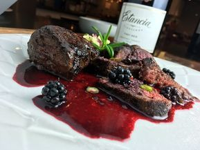 Elk Steak Medallions with Blackberry Red Wine Sauce