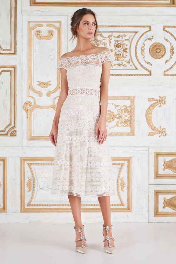 Off-the-shoulder midi wedding dress: http://www.stylemepretty.com/2017/05/02/tadashi-shoji-spring-2018-bridal-week/