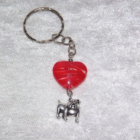 B.Long Striped Heart Bulldog Keyring (Red) - Free UK P&P - Dog / Animal / Love /  Dog-Lover / Bulldog / Keychain / Funky / Cool / Unusual