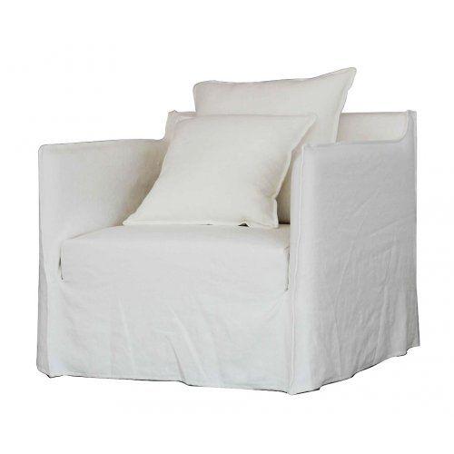Linen Slip cover chair - White