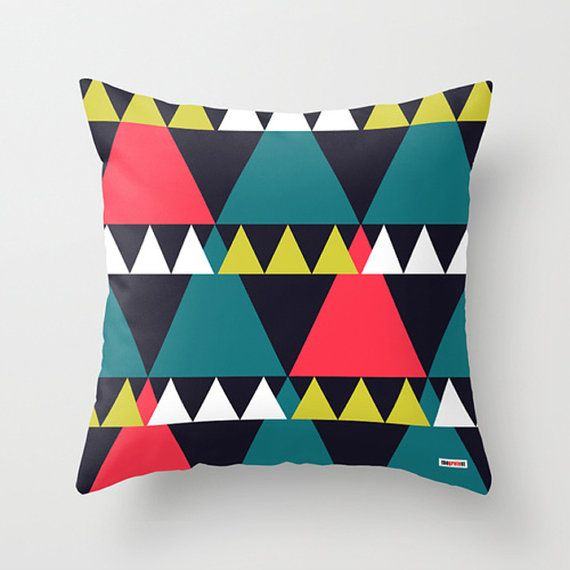 Triangles Decorative throw pillow cover  design by thegretest, $38.00