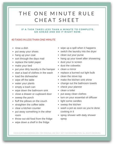 69eb8509a5d5bedebad6de821e38f305 The One Minute Rule Cheat Sheet | 40 Tasks in Less than One Minute – Purpose 3...
