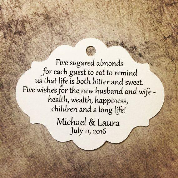 Favor Tags Jordan Almond Sugared Italian Wedding 684 Qty 30