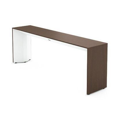 steelcase campfire slim console table finish arctic white laminate finish clear walnut