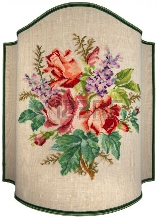 Hand embroidery on beige canvas of roses, flowers and leaves