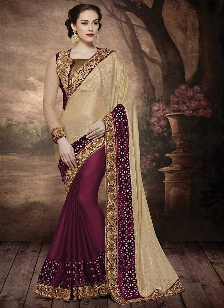 Soigne Cream Satin Georgette Designer Saree