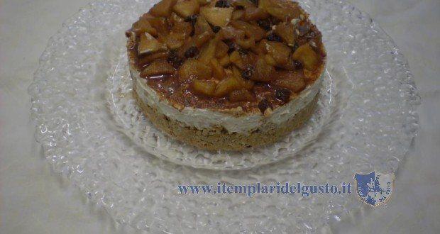 Cheesecake alla mela annurca, pinoli, noci, uva sultanina e cannella  - Ricetta dello chef Vincenzo Toppi. Ristorante Amor mio, Brusciano (Na)