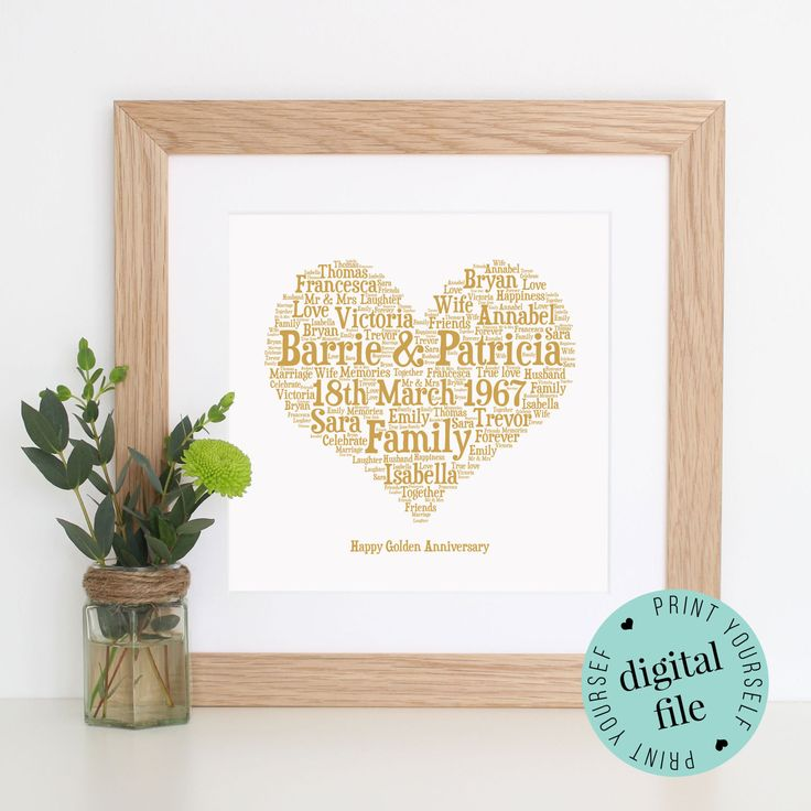 Personalised 50th ANNIVERSARY GIFt - Word Art - Printable - Golden Wedding Anniversary - 50th Wedding Anniversary Gifts for Parents by WordlyDesigns on Etsy